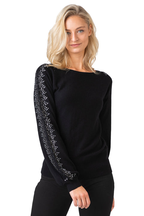 Women's Embellished Blouson Sleeve Pullover Sweater