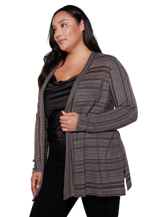 Women's Long Sleeve Metallic Variegated Striped Cardigan - Curvy