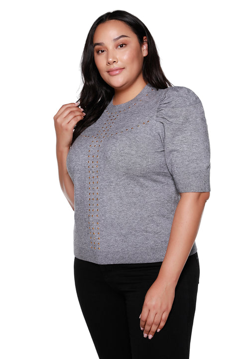 Women's 3/4 Puff Sleeve Sweater with Rhinestone and Stud Details - Curvy