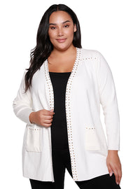 Women's Long Sleeve Open Cardigan with Gold Rivets | Curvy