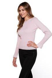 Women's Boatneck Sweater with Ribbed Hem and Ruffle Sleeve