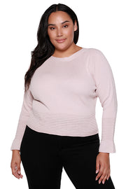 Women's Boatneck Sweater with Ribbed Hem and Ruffle Sleeve | Curvy