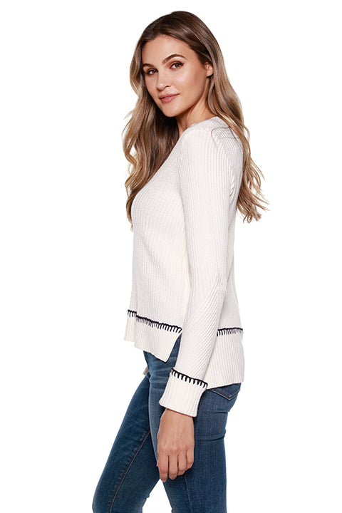 Women's V-neck Sweater with Contrast Yarn Cuffed Sleeve