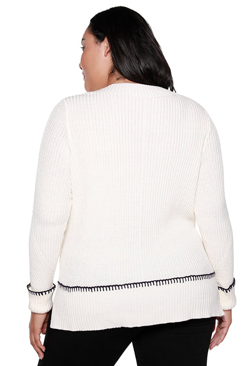 Women's V-neck Sweater with Contrast Yarn Cuffed Sleeve | Curvy