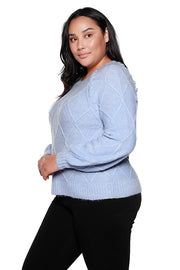 Women's Long Sleeve Diamond Cable Knit Sweater |Curvy