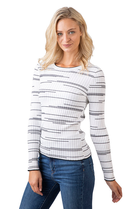 Women's Long Sleeve Crewneck Rib Knit Top