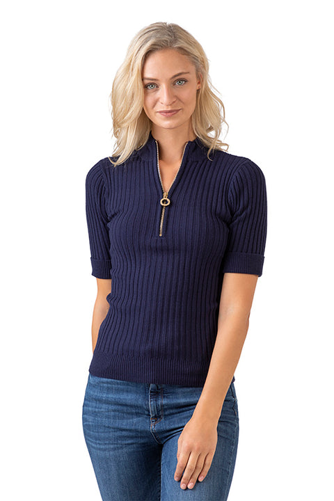 Women's 3/4 Sleeve Mock Neck Sweater with front Zipper Closure
