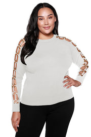 Women's V-neck Sweater with Floating Ring Sleeve Details | Curvy