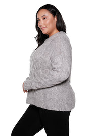 Women's Long Sleeve Classic Chunky Cable Knit Sweater | Curvy