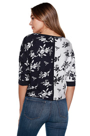 Women's 3/4 Sleeve Colorblocked Floral Boatneck Top