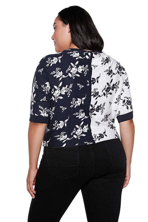 Women's 3/4 Sleeve Colorblock Floral Boatneck Top | Curvy