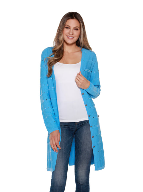 Women's Long Button Front Cardigan