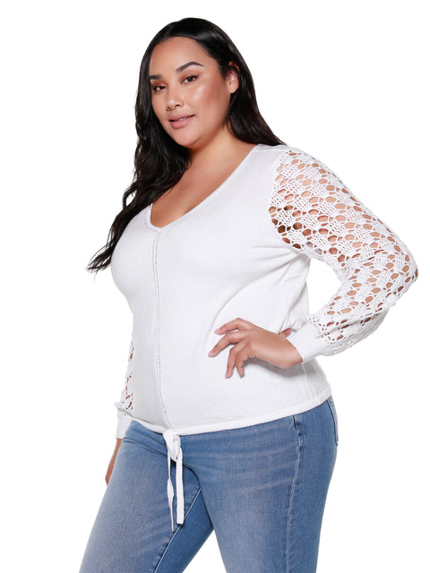 Women's Crocheted Sleeve Light Weight Sweater | Curvy