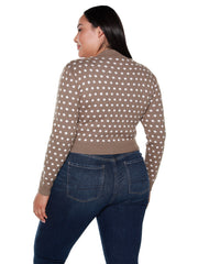 Women's Long Sleeve Polka Dot Button Front Sweater | Curvy