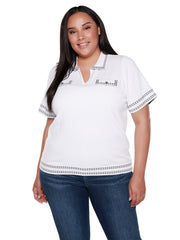 Women's V-neck Contrast Stitch Collared Top | Curvy