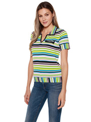 Women's Short Sleeve Collared V-neck Striped Top with Pockets