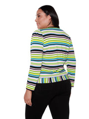 Women's Long Sleeve Button Front Multi-Stripe Sweater | Curvy