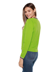 Women's Classic Long Sleeve Button Front Light Weight Sweater with Contrast