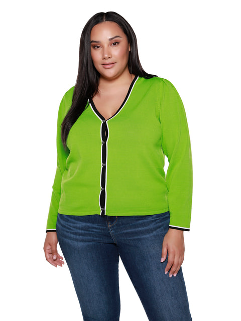 Women's Classic Long Sleeve Button Front Light Weight Sweater with Contrast | Curvy