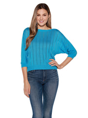 Women's 3/4 Sleeve  Boatneck Top with Open Knit Stripes