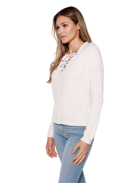 Women's Lace Up V-neck Pullover Sweater