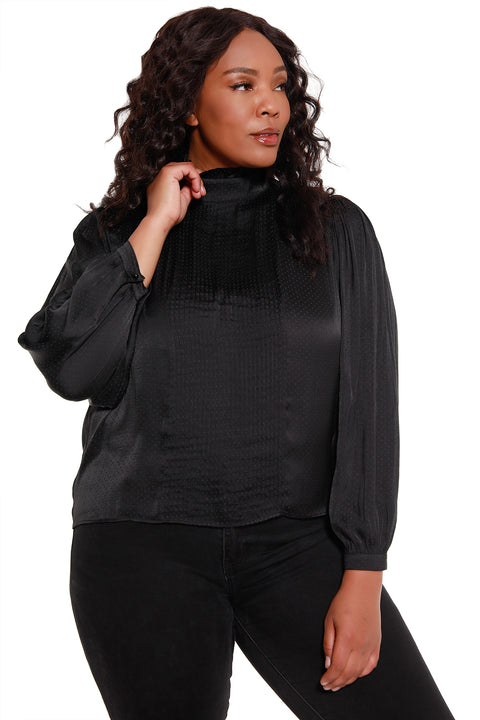 Women's Long Sleeve Dotted Pleat Front Blouse - Curvy