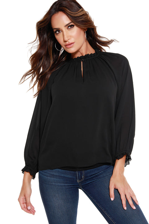 Women's Long Sleeve Crinkle Chiffon Key Hole Top