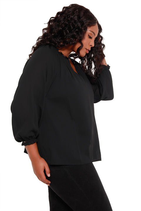 Women's Long Sleeve Crinkle Chiffon Key Hole Top - Curvy