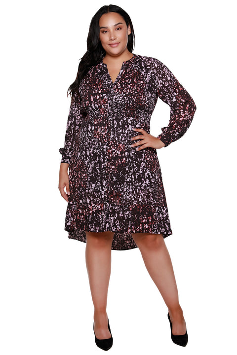 Women's Flowy High Low Winter Blossoms Dress - Curvy