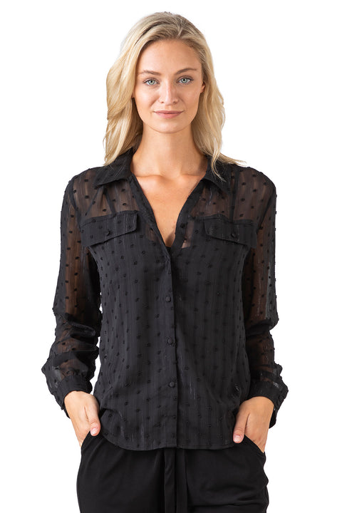 Women's Dot Chiffon Lurex Striped Collared Button Down Top