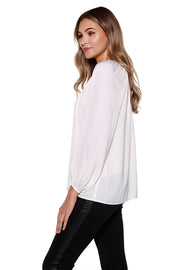 Women's Long Sleeve Peasant Top with Tie Front Keyhole