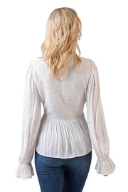 Women's Long Sleeve Smocked Ruffle Peplum Top