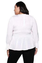 Women's Long Sleeve Smocked Ruffle Peplum Top | Curvy