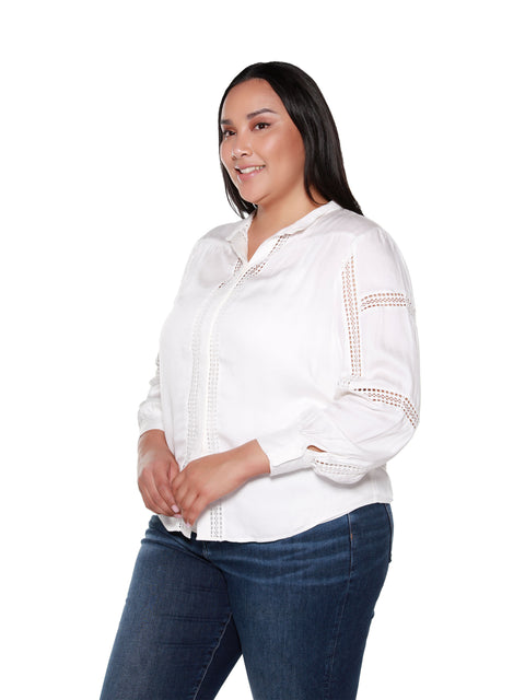 Women's Long Sleeve Blouse with Inset Lace Details | Curvy