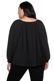 Women's Long Sleeve Button Front Pleated Blouse | Curvy