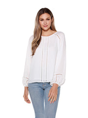 Women's Boho Blouse with Ladder Lace Detail
