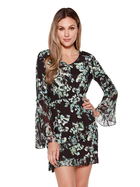 Women's  Floral Dress with Pleated Chiffon Bell Sleeves and Trim
