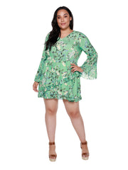 Women's  Floral Dress with Pleated Chiffon Bell Sleeves and Trim | Curvy