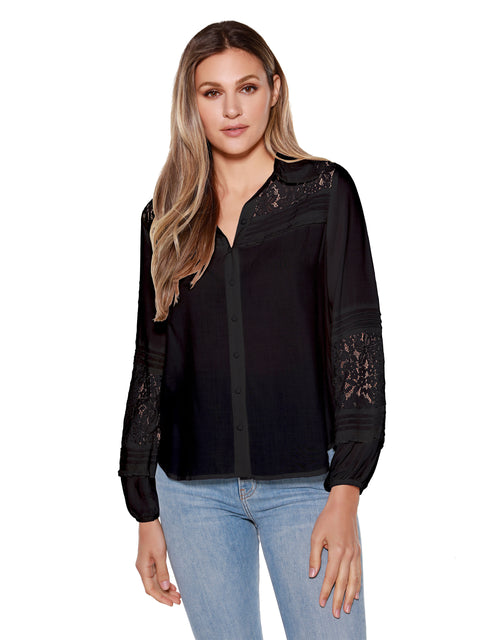 Women's Long Sleeve Lace Inset Button Front Blouse
