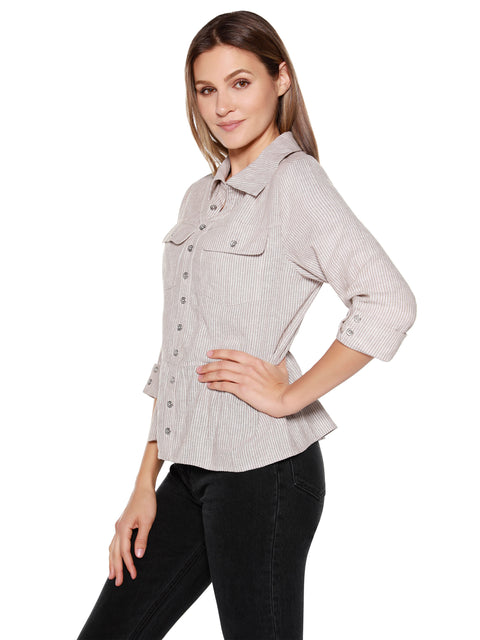 Women's Chambray Striped 3/4 Sleeve Peplum Top