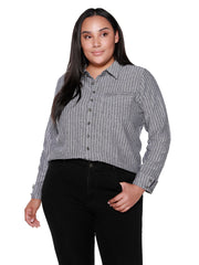 Women's Long Sleeve Button Front Striped Chambray Shirt | Curvy