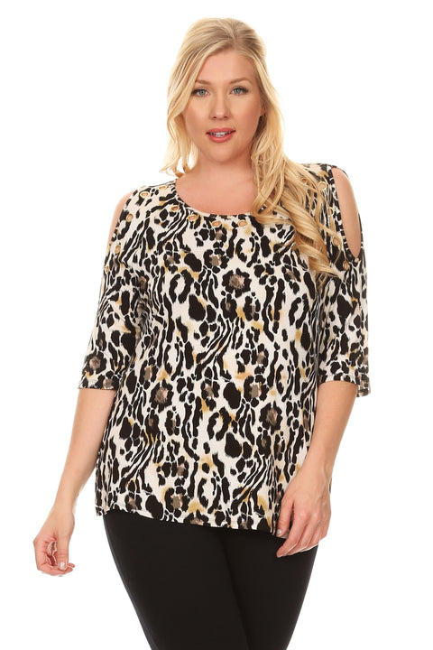 3/4 Sleeve Animal Print Cold Shoulder Top with Grommet Details - Plus ISLAND SAFARI