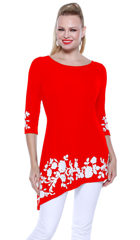3/4 Sleeve Asymmetrical Hem Pullover with Applique on Hem and Sleeves BLOOD ORANGE/WHITE