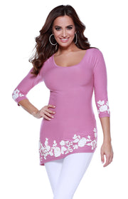 3/4 Sleeve Asymmetrical Hem Pullover with Applique on Hem and Sleeves DESERT ROSE/WHITE