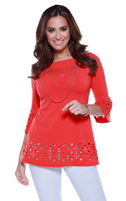 3/4 Bell Sleeve Tunic with Laser Cutouts on Sleeves and Hem BLOOD ORANGE