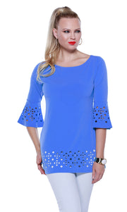 3/4 Bell Sleeve Tunic with Laser Cutouts on Sleeves and Hem CORNFLOWER