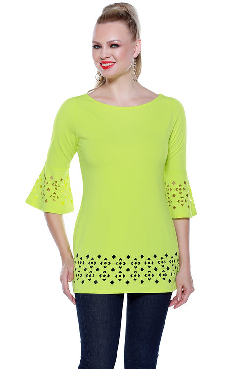 3/4 Bell Sleeve Tunic with Laser Cutouts on Sleeves and Hem KEY LIME