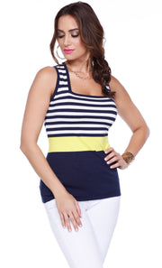 3/4 Sleeve Color Blocked Striped Cardigan & Matching Tank NAVY/WHITE/STARFRUIT