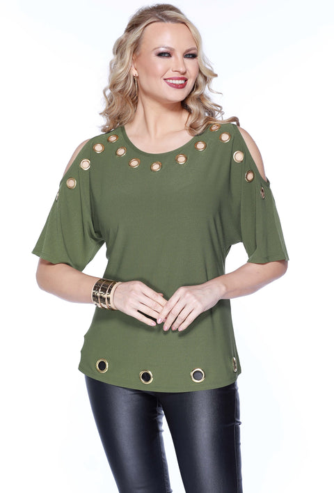 3/4 Dolman Sleeve Cold Shoulder Top With Grommet Detail MILITARY GREEN/GOLD