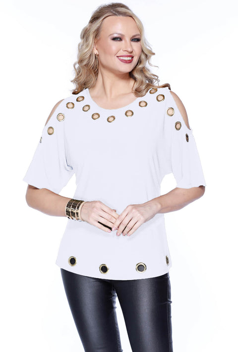 3/4 Dolman Sleeve Cold Shoulder Top With Grommet Detail WINTER WHITE/GOLD